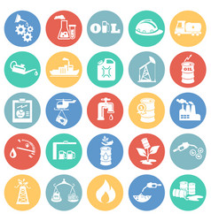 oil industry icons on color circle background vector image