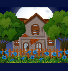 Old brick house at night time vector