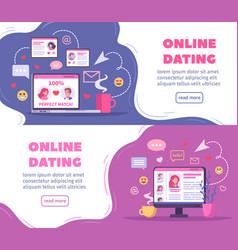Online dating horizontal banners vector