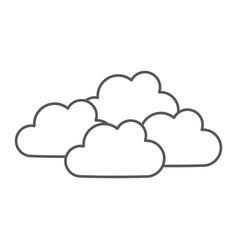 Overcast thin line icon weather and climate vector