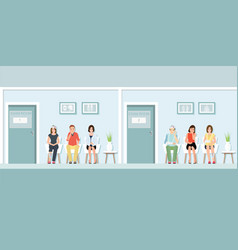 patients waiting for doctor at front of exam room vector image
