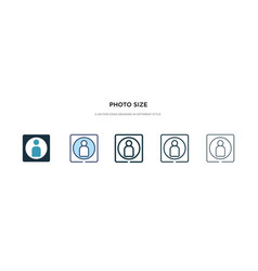 Photo size icon in different style two colored vector