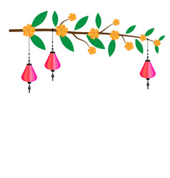 Pink chinese paper lanterns hanging on twigs vector
