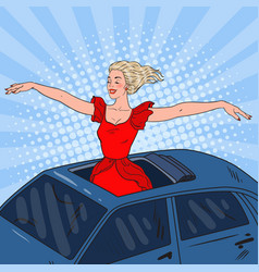 Pop art woman standing in a car sunroof vector