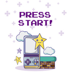press start retro videogame vector image