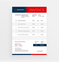 Professional red invoice template design vector