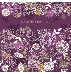 purple background of hand draw flowers vector image