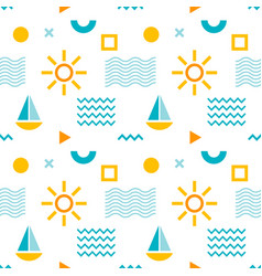 seamless abstract pattern with sun boat vector image