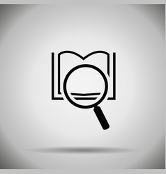 search book icon magnifier and book symbol vector image