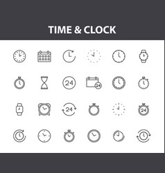 set 24 time and clock web icons in line style vector image