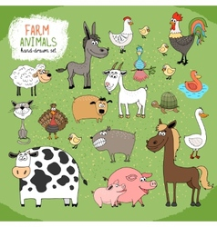 set hand-drawn farm animals vector image