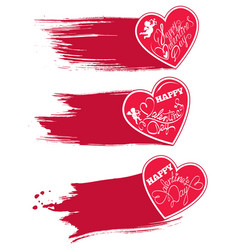 set of 3 red hearts with watercolor style strokes vector image