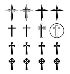set of crucifix and cross silhouette in modern vector image