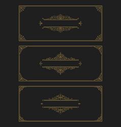 set of flourishes and ornamental vintage design vector image