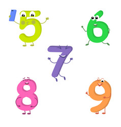 set of funny characters from numbers 2 vector image