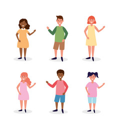 set women and men with casual clothes vector image