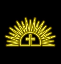 Shining sun and cross neon sign resurection vector
