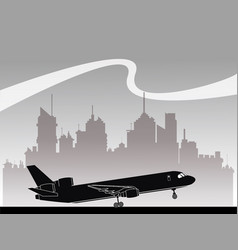 Silhouette airplane transportation urban vector