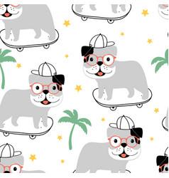 skater dog seamless pattern print design vector image