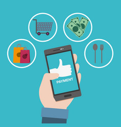 Smartphone in the hand to online shopping and vector