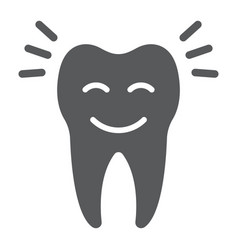Smiling tooth glyph icon stomatology vector