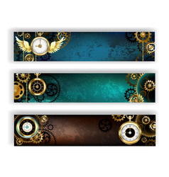 Three Banners with Clock vector image