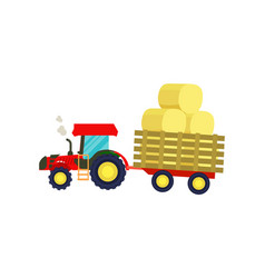 Tractor with balls of hay on trailer icon vector