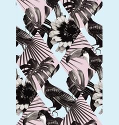 Tropical black and white patchwork seamless vector