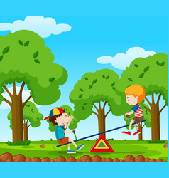 Two boys playing seesaw in the park vector