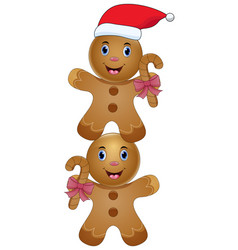 two cute cartoon gingerbread vector image