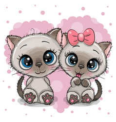 Two cute kittens on a heart background vector