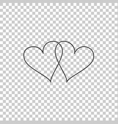 Two linked hearts icon on transparent background vector