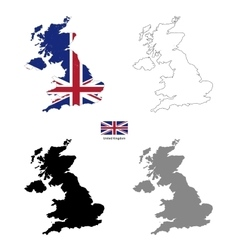 united kingdom country black silhouette and vector image