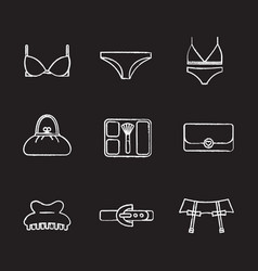 Womens clothes and accessories chalk icons set vector