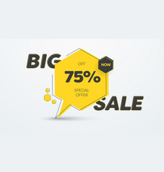 yellow banner template for big sale and 75 vector image