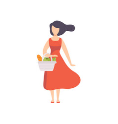 young beautiful woman standing with basket with vector image