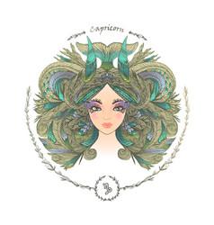 zodiac sign portrait a woman capricorn vector image