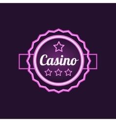 Double frame casino purple neon sign vector