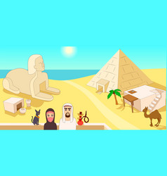 egypt horizontal banner cartoon style vector image