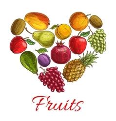 Fruit heart sketch poster for drinks food design vector image
