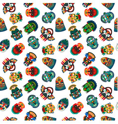 tribal colorful masks seamless pattern vector image vector image