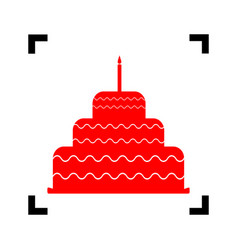 cake with candle sign red icon inside vector image