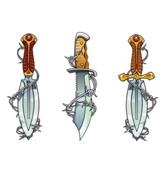 Cartoon ancient daggers with barbed wire vector image vector image