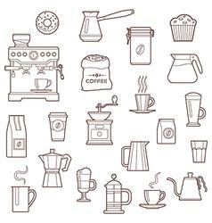 Coffee icon set line vector image