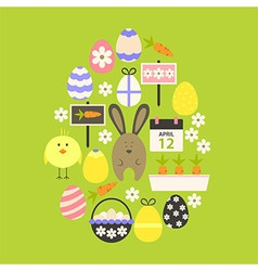 Easter Flat Icons Set Egg shaped over green vector image vector image