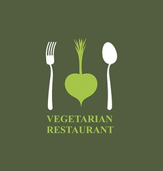 Logo for vegetarian restaurants or cafes Cutlery vector image vector image