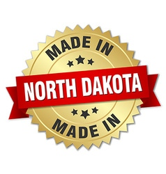 made in North Dakota gold badge with red ribbon vector image