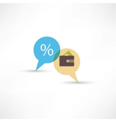 purse and percent in bubble speech vector image vector image