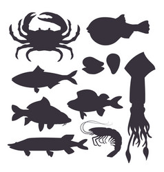 seafood set black silhouette with crab fish vector image vector image