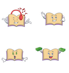 Set of open book character with listening call me vector
